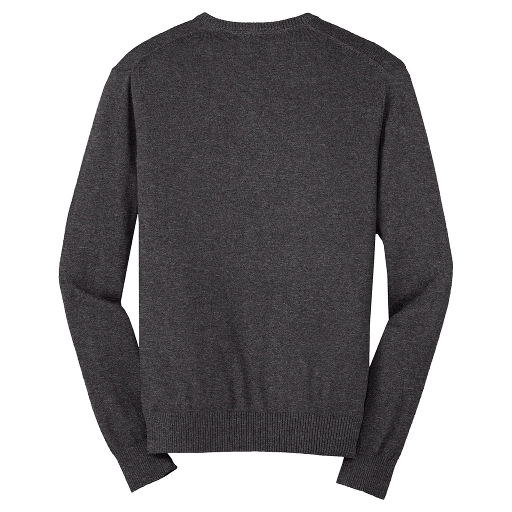 Port Authority Men's Charcoal Heather V-Neck Sweater