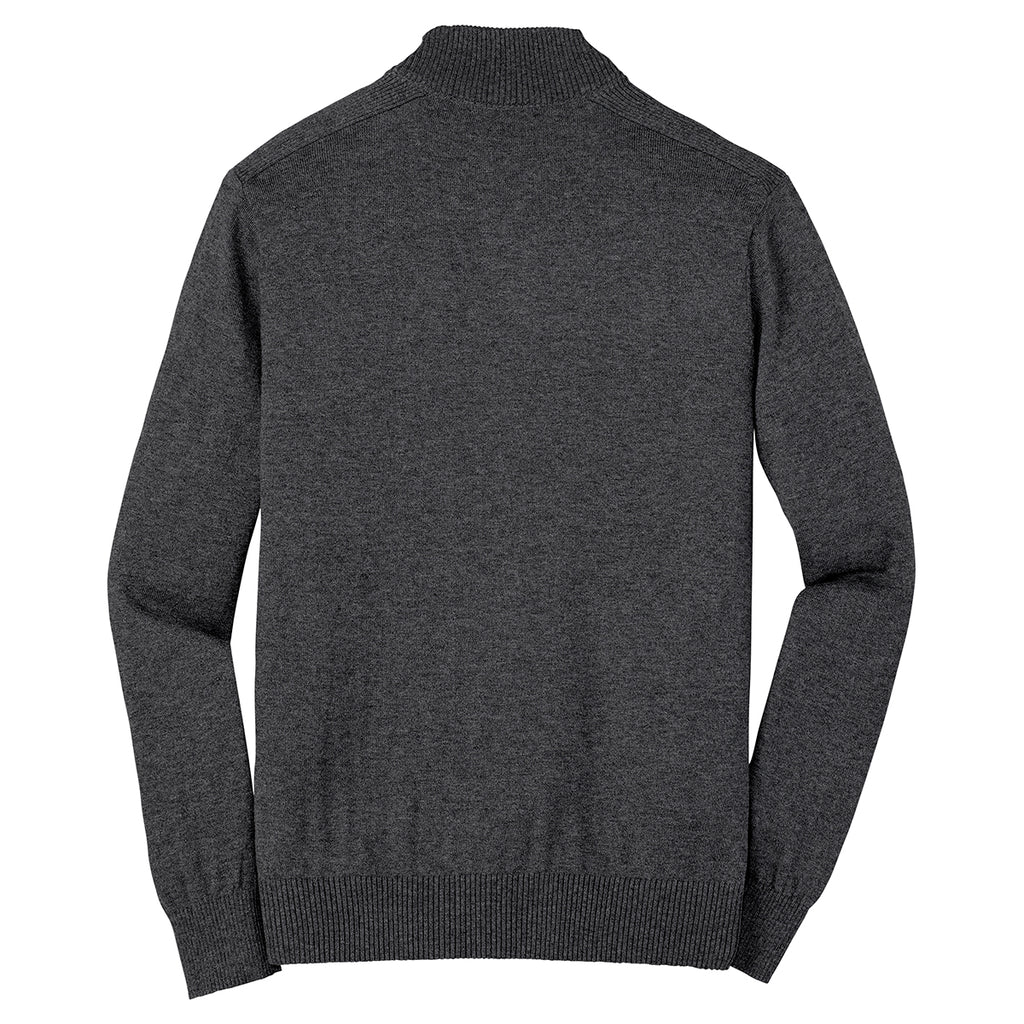Port Authority Men's Charcoal Heather 1/4 Zip Sweater