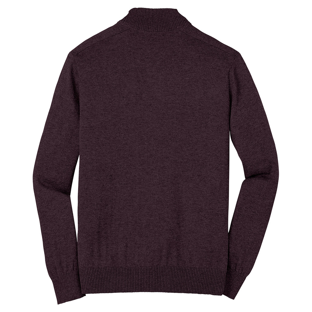 Port Authority Men's Heather Burgundy 1/4 Zip Sweater