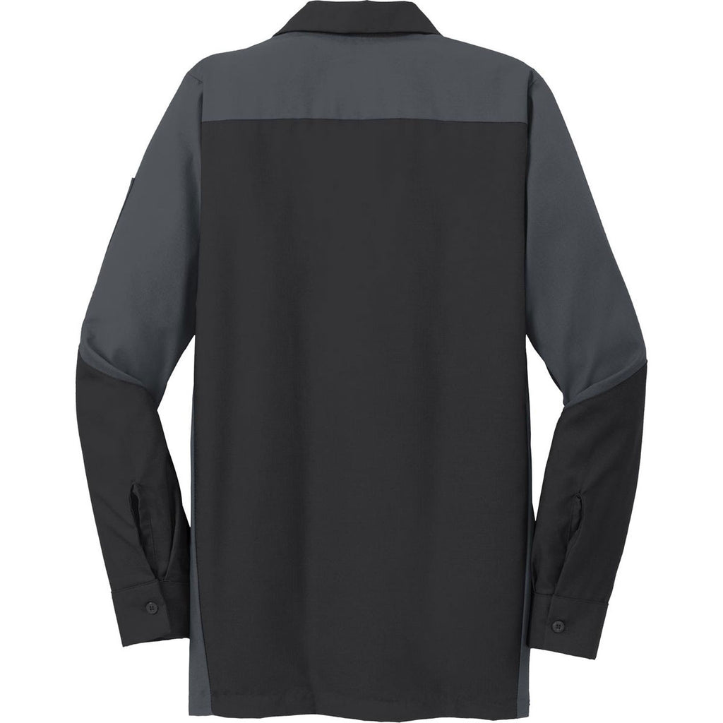 Red Kap Men's Black/Charcoal Long Sleeve Ripstop Crew Shirt