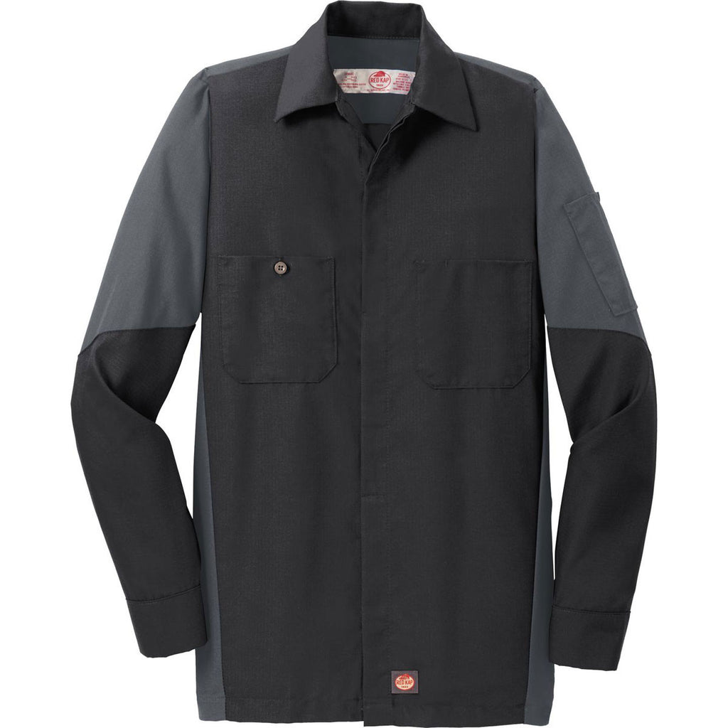 Red kap men 39 s black charcoal long sleeve ripstop crew shirt for Red kap mechanic shirts