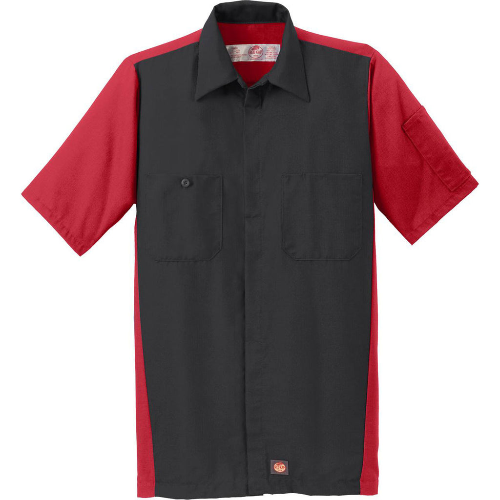 Red kap men 39 s black red short sleeve ripstop crew shirt for Red kap mechanic shirts