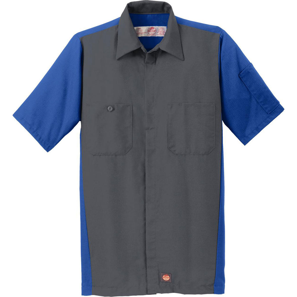 Red kap men 39 s charcoal royal short sleeve ripstop crew shirt for Red kap mechanic shirts
