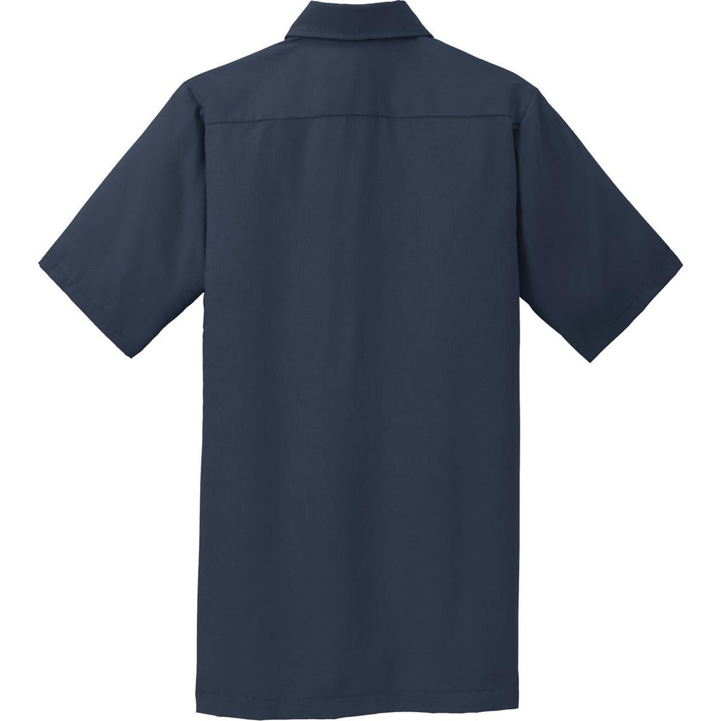 Red Kap Men's Navy Short Sleeve Solid Ripstop Shirt