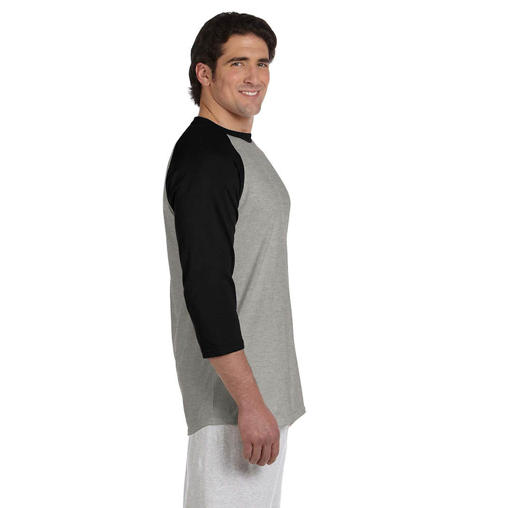 Champion Men's Grey/Black Baseball T-Shirt