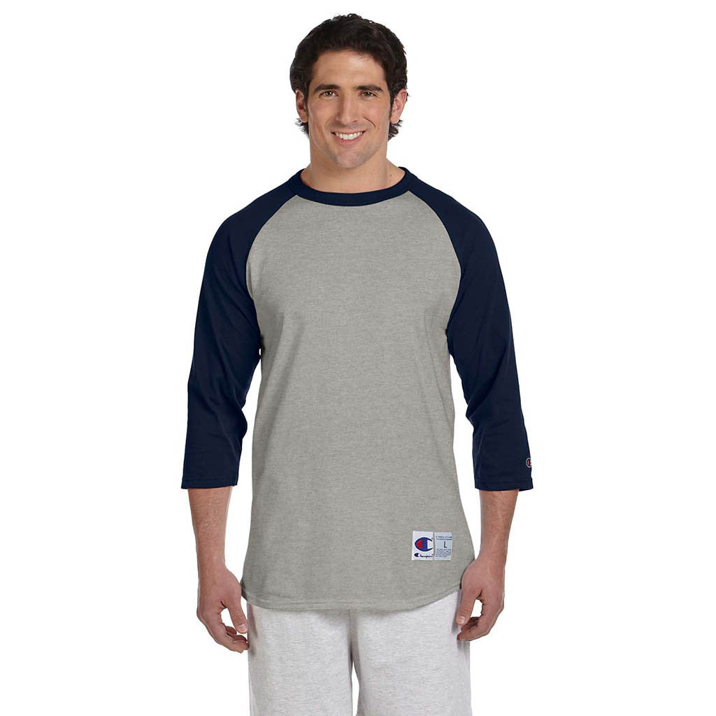 Champion Men's Grey/Navy Baseball T-Shirt