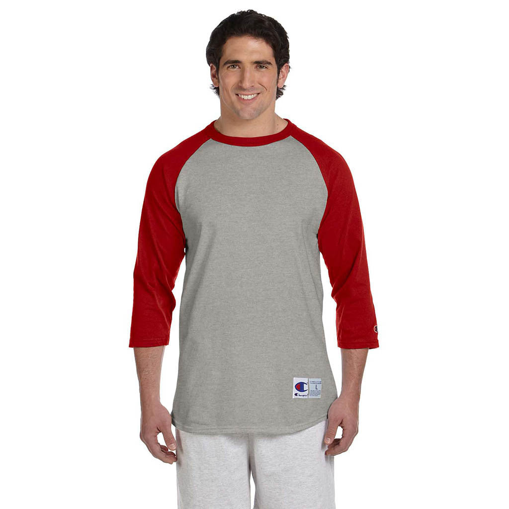 Champion Men's Grey/Scarlet Red Baseball T-Shirt