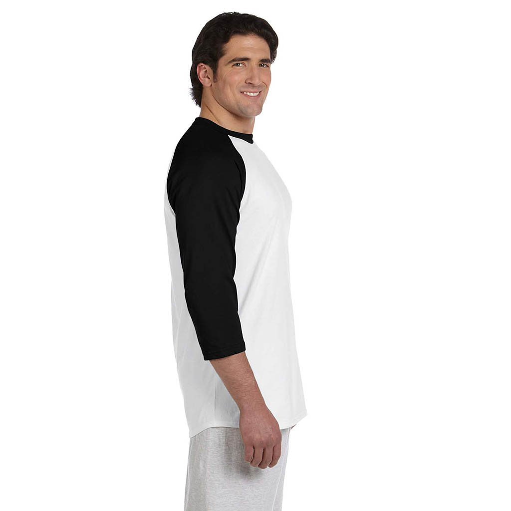 Champion Men's White/Black Baseball T-Shirt