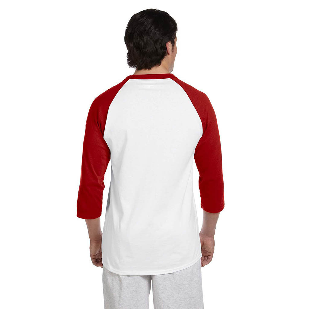 Champion Men's White/Scarlet Red Baseball T-Shirt
