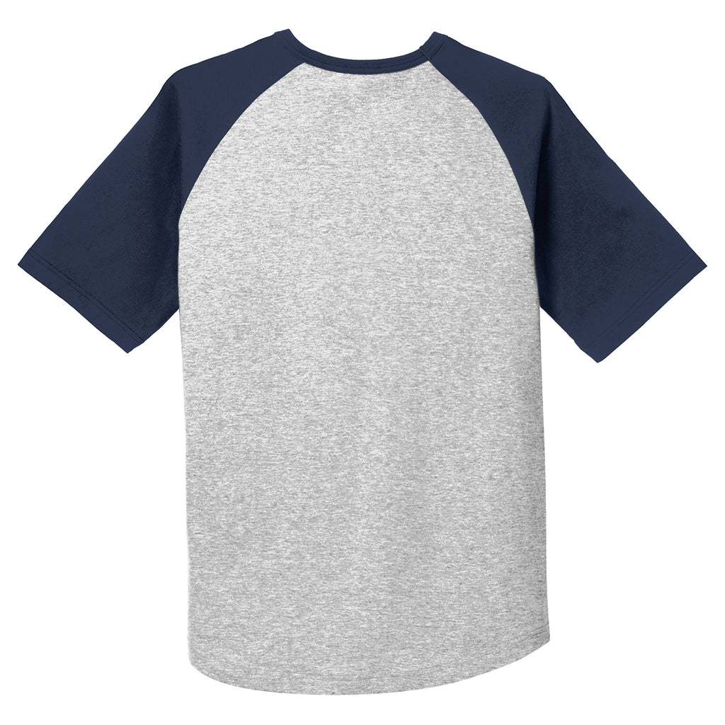 Sport-Tek Men's Heather Grey/ Navy Short Sleeve Colorblock Raglan Jersey