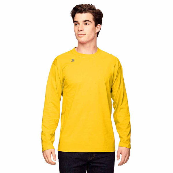 Champion Men S Sport Athletic Gold Vapor Cotton Long Sleeve T Shirt