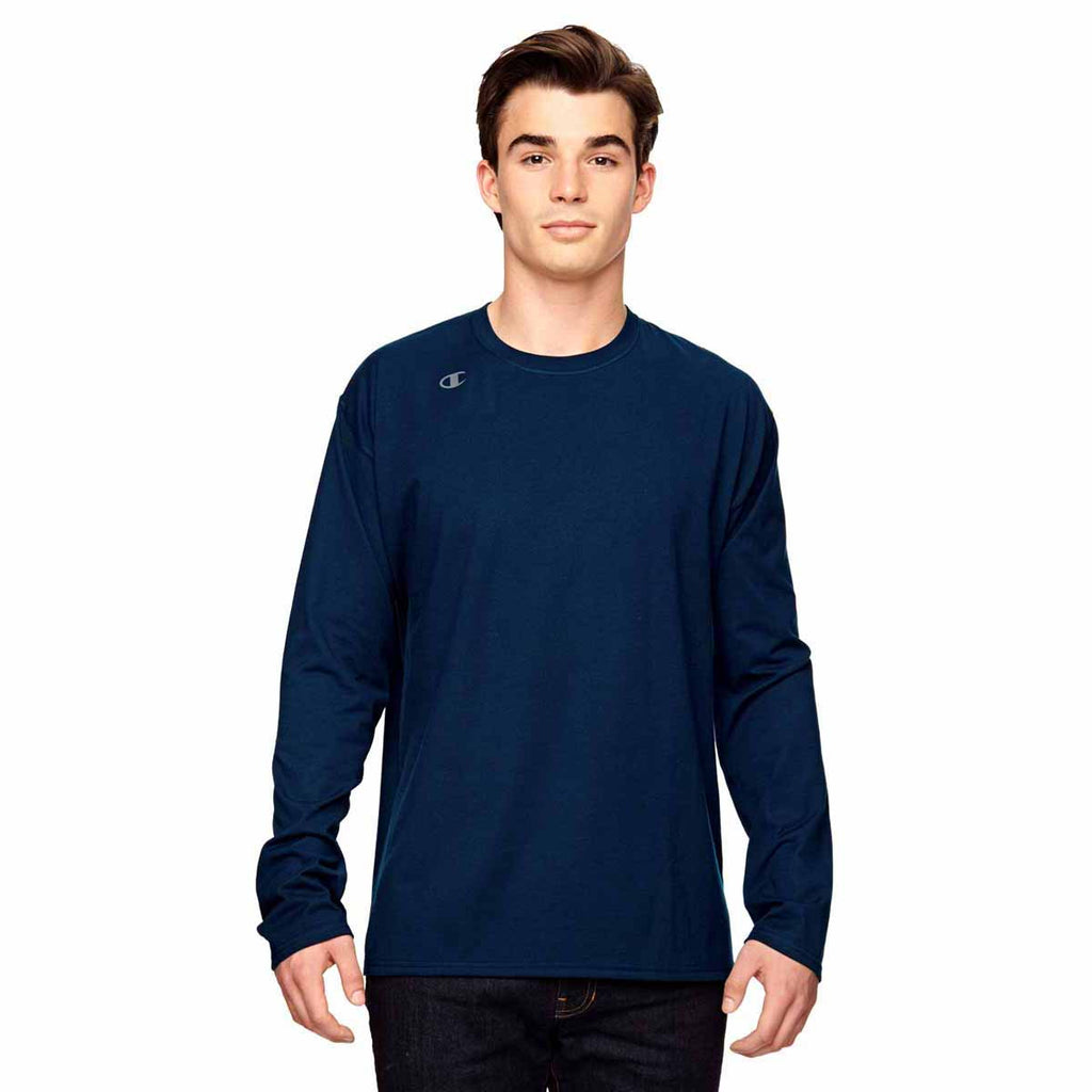 7edfe8bca85b Champion Men's Sport Dark Navy Vapor Cotton Long-Sleeve T-Shirt. ADD YOUR  LOGO