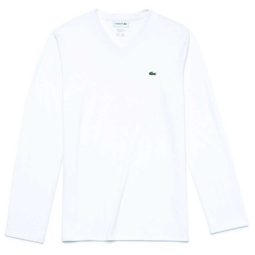 bb5d6082a5 Lacoste Men's White Long Sleeve Pima Cotton Jersey V-Neck T-Shirt