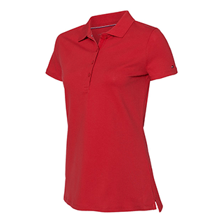 Tommy Hilfiger Women's Apple Red Classic Fit Ivy Pique Sport Shirt