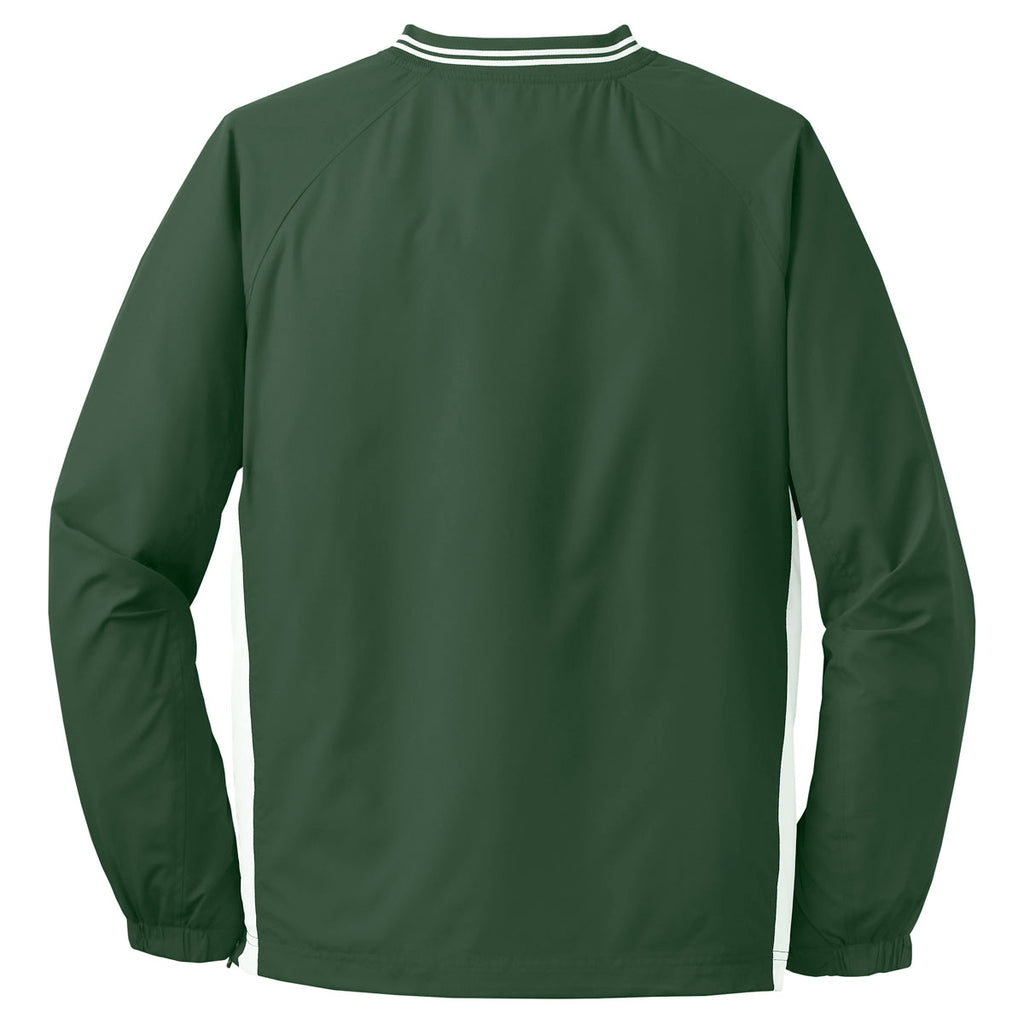 Sport-Tek Men's Forest Green/ White Tall Tipped V-Neck Raglan Wind Shirt