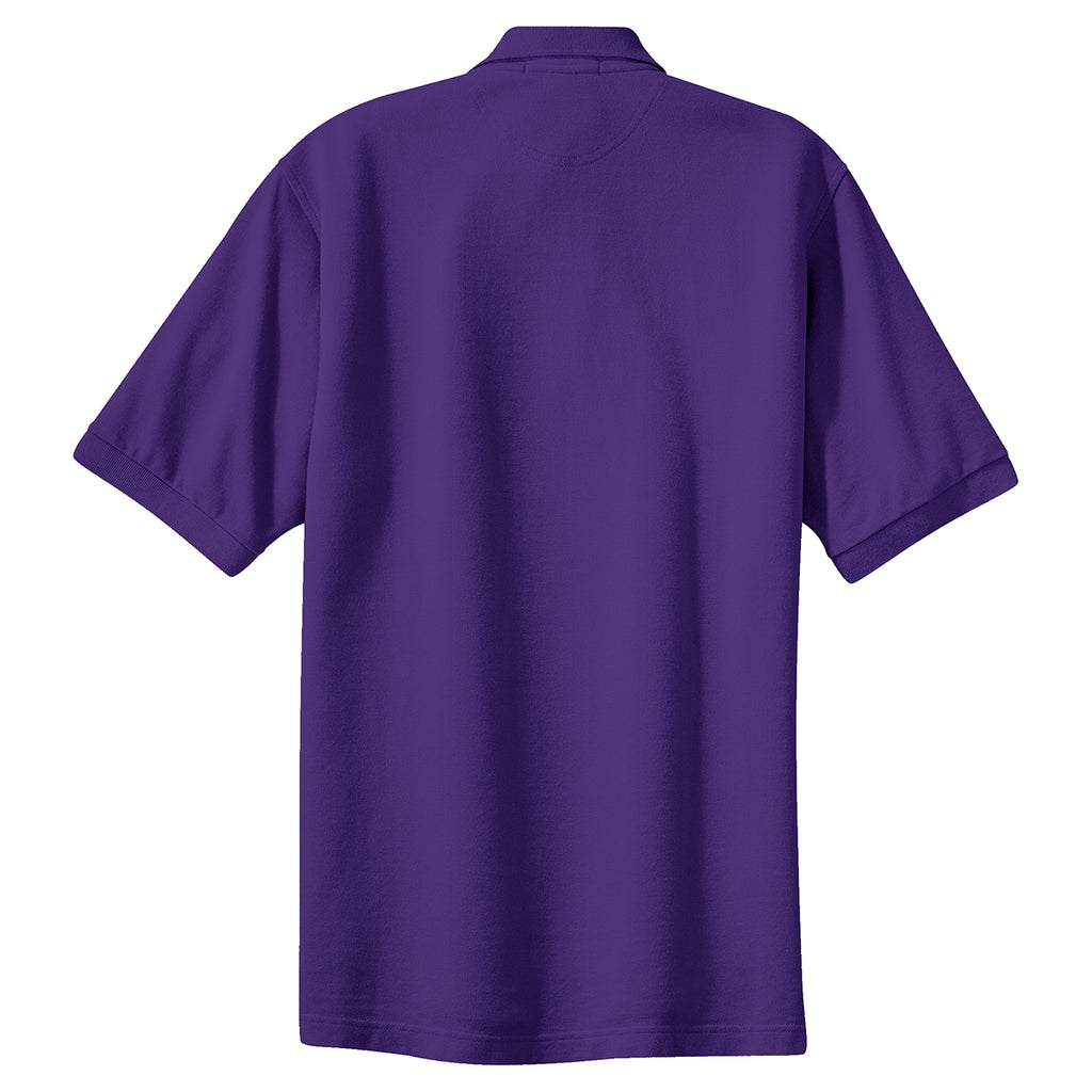 Port Authority Mens Purple Tall Pique Knit Polo
