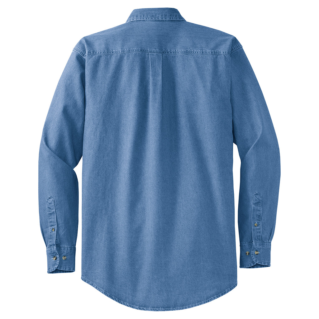 Port Authority Men's Faded Blue Tall Long Sleeve Denim Shirt