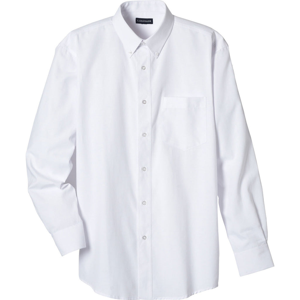 Elevate Mens White Tulare Oxford Long Sleeve Shirt