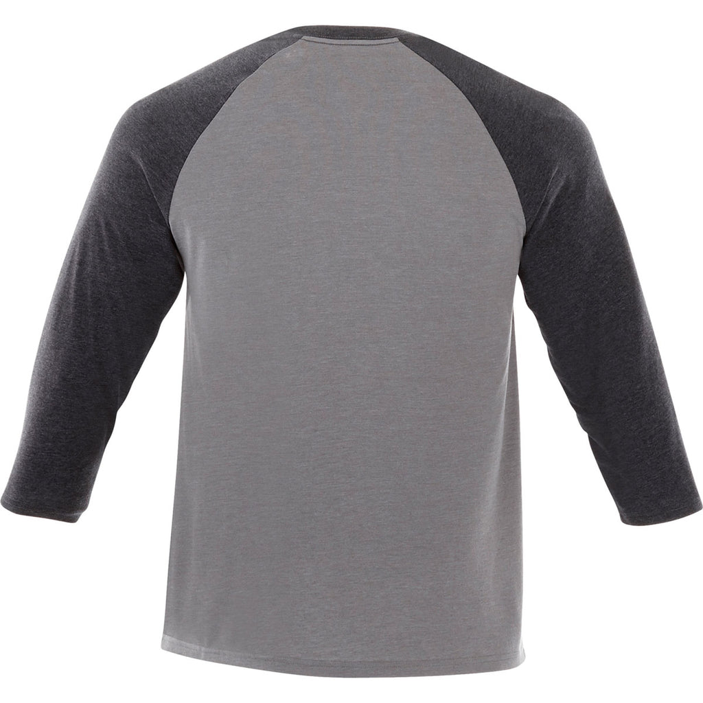 Elevate Men's Heather Dark Charcoal/Medium Heather Grey Dakota Three Quarter Tee