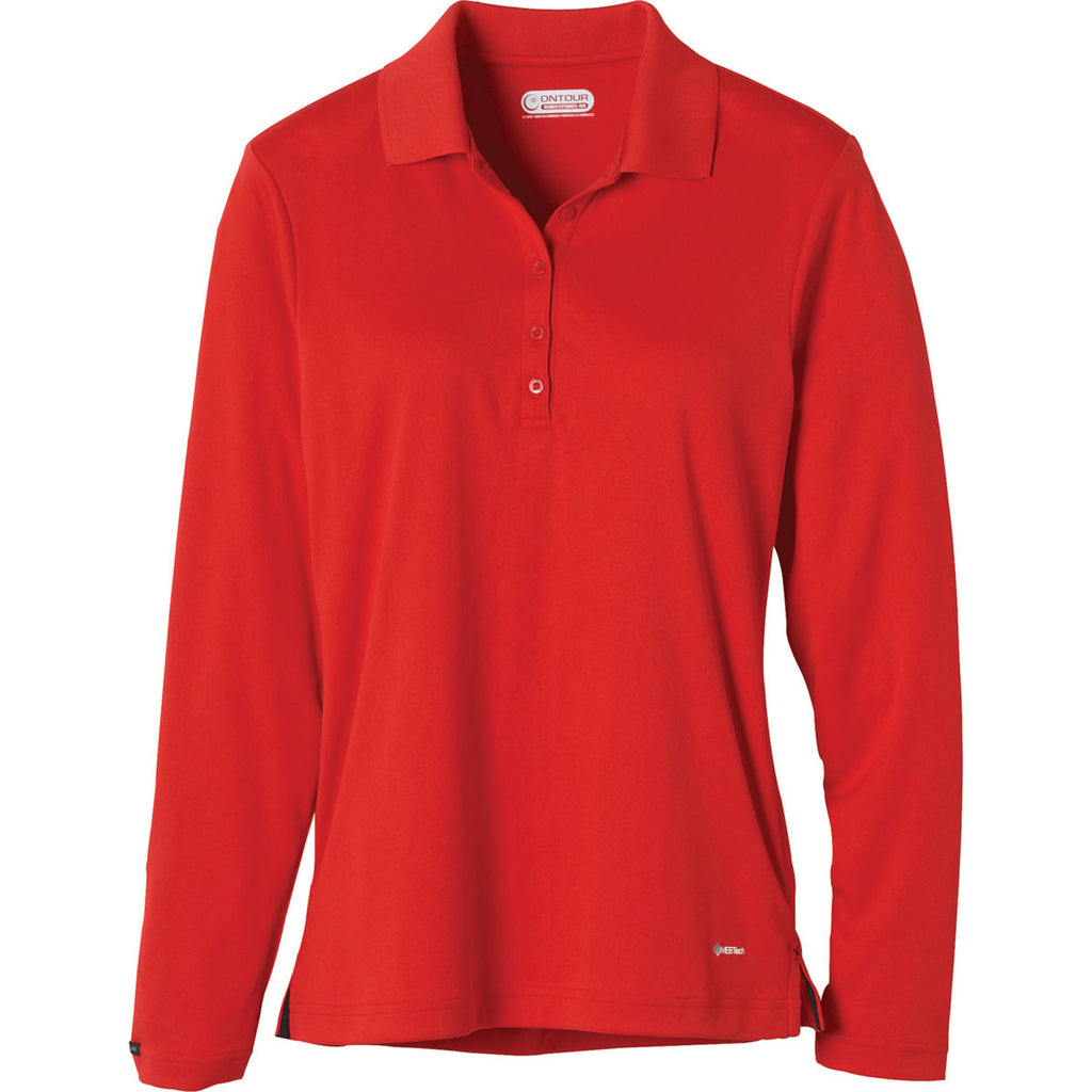 Elevate Womens Red Brecon Long Sleeve Polo