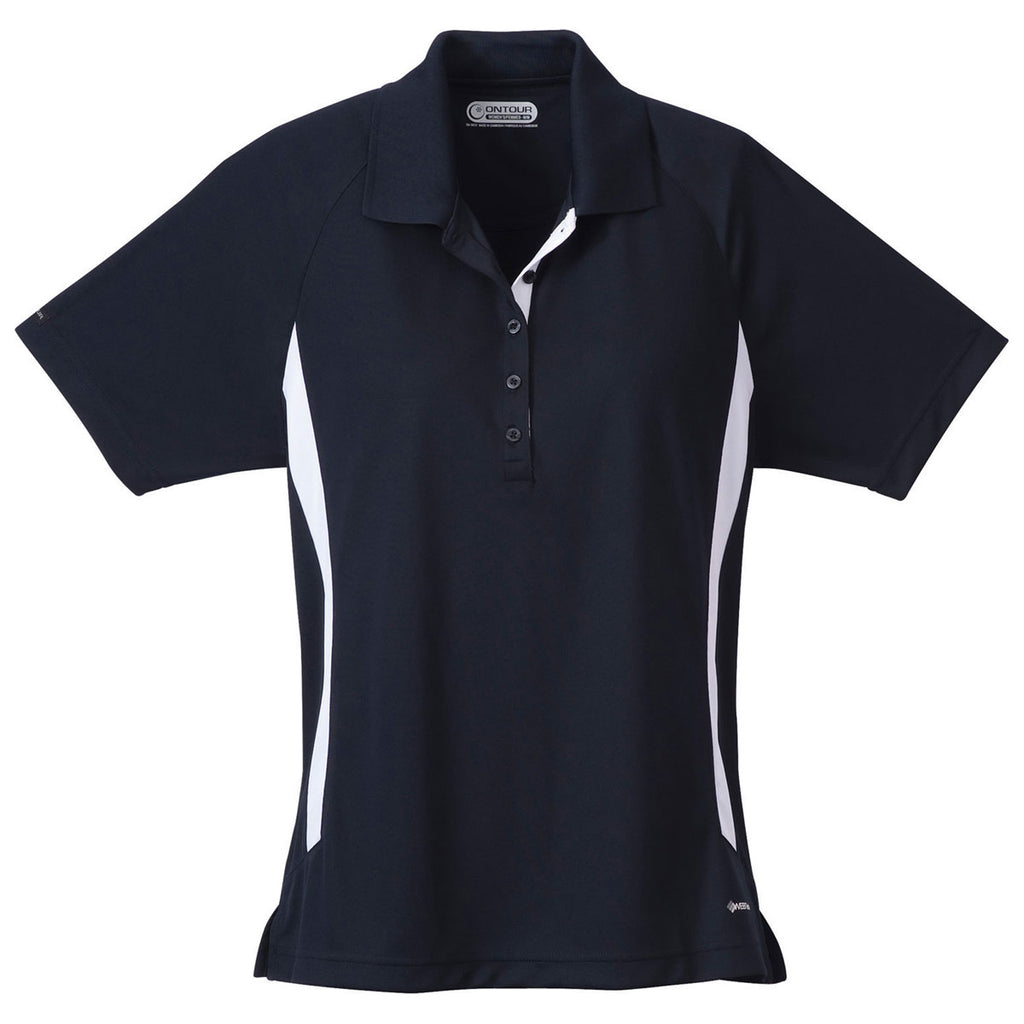 6678d20f Elevate Women's Navy/White Mitica Short Sleeve Polo