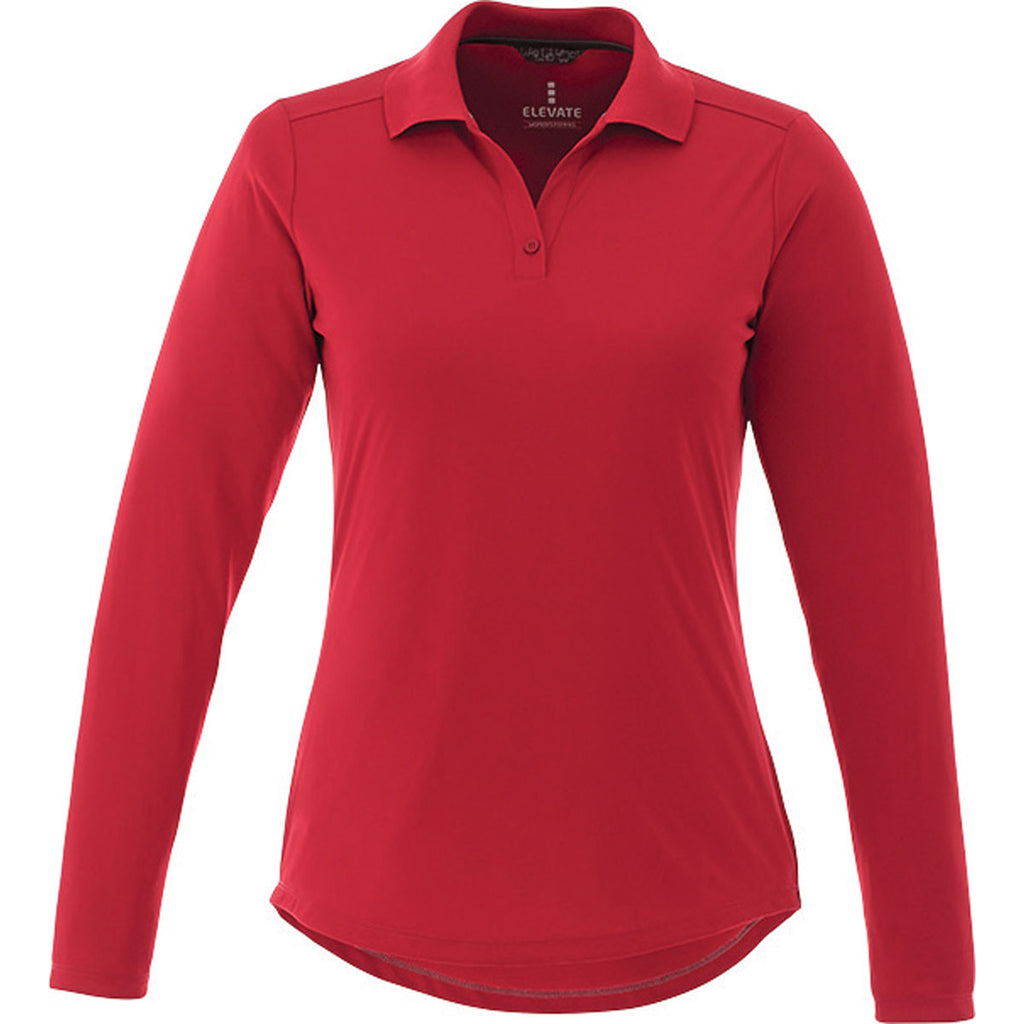 Elevate Women s Team Red Mori Long Sleeve Polo. ADD YOUR LOGO 82379669d9