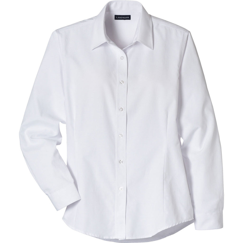 Elevate Womens White Tulare Oxford Long Sleeve Shirt