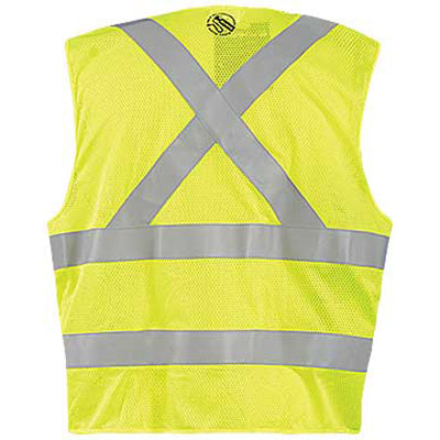 OccuNomix Men's Yellow Mesh Self-Extinguishing X-Back Break-Away Vest with Quick Release Zipper