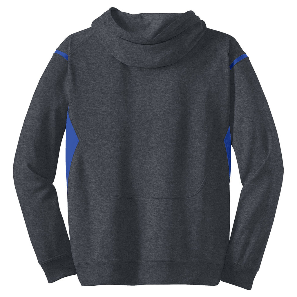 Sport-Tek Men's Graphite Heather/ True Royal Tall Tech Fleece Colorblock Hooded Sweatshirt