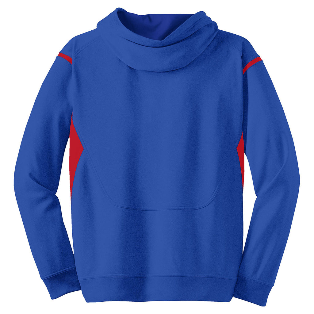 Sport-Tek Men's True Royal/ True Red Tall Tech Fleece Colorblock Hooded Sweatshirt