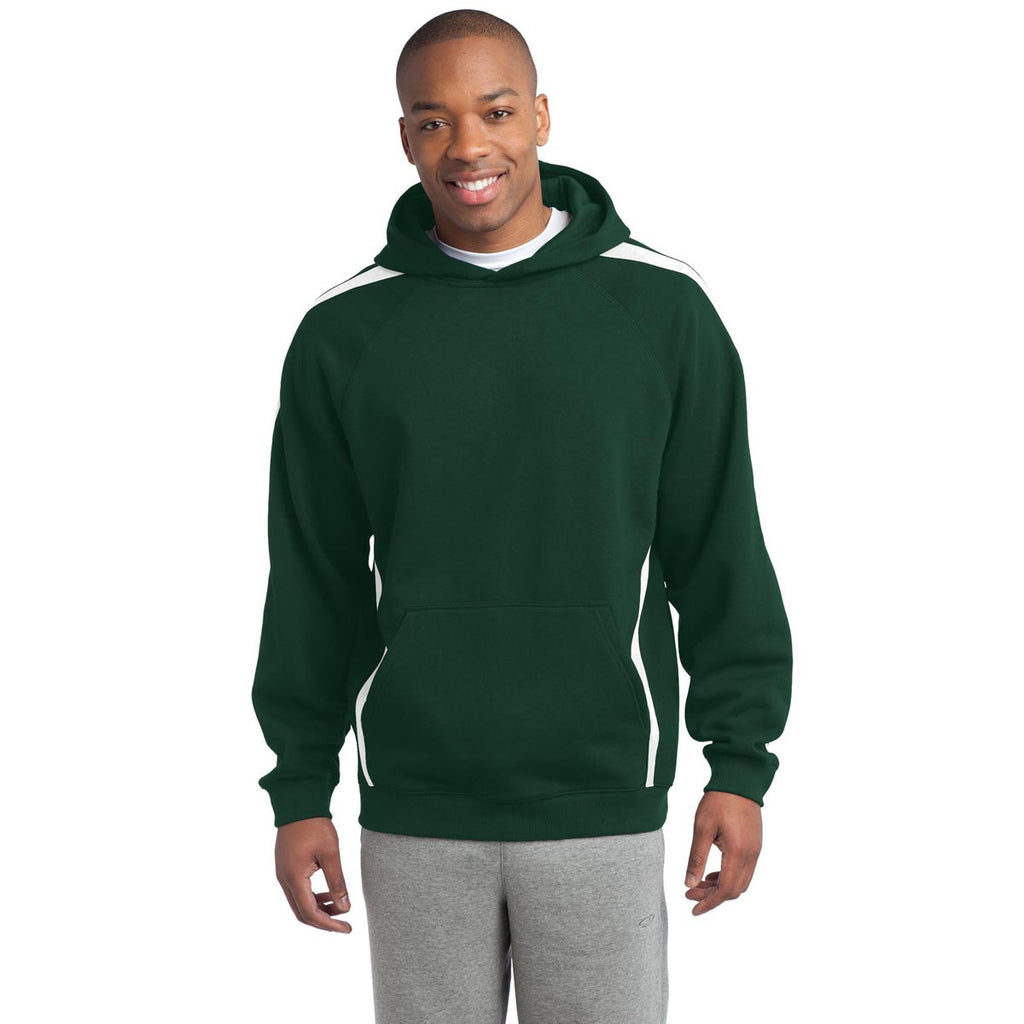 63441044597 Sport-Tek Men s Forest Green  White Tall Sleeve Stripe Pullover Hooded
