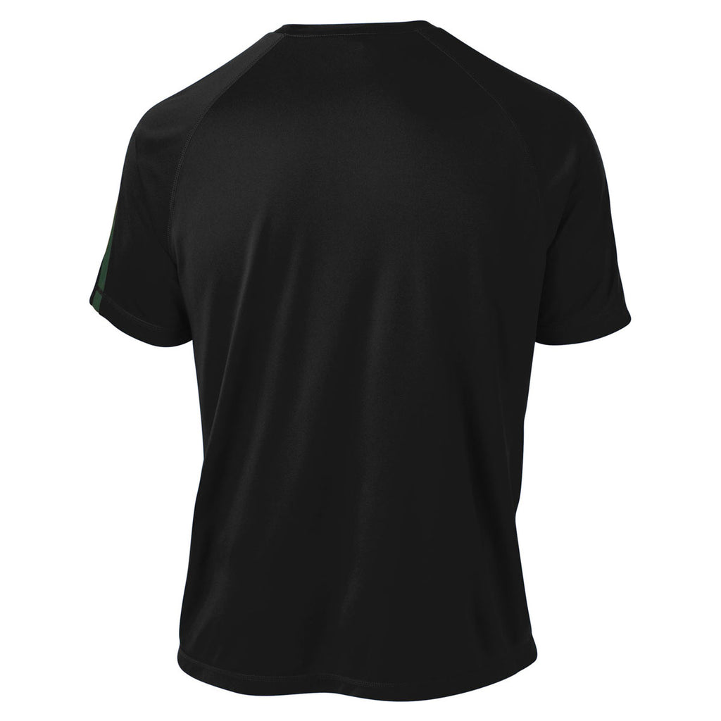 Sport-Tek Men's Black/ Forest Green Tall Colorblock PosiCharge Competitor Tee