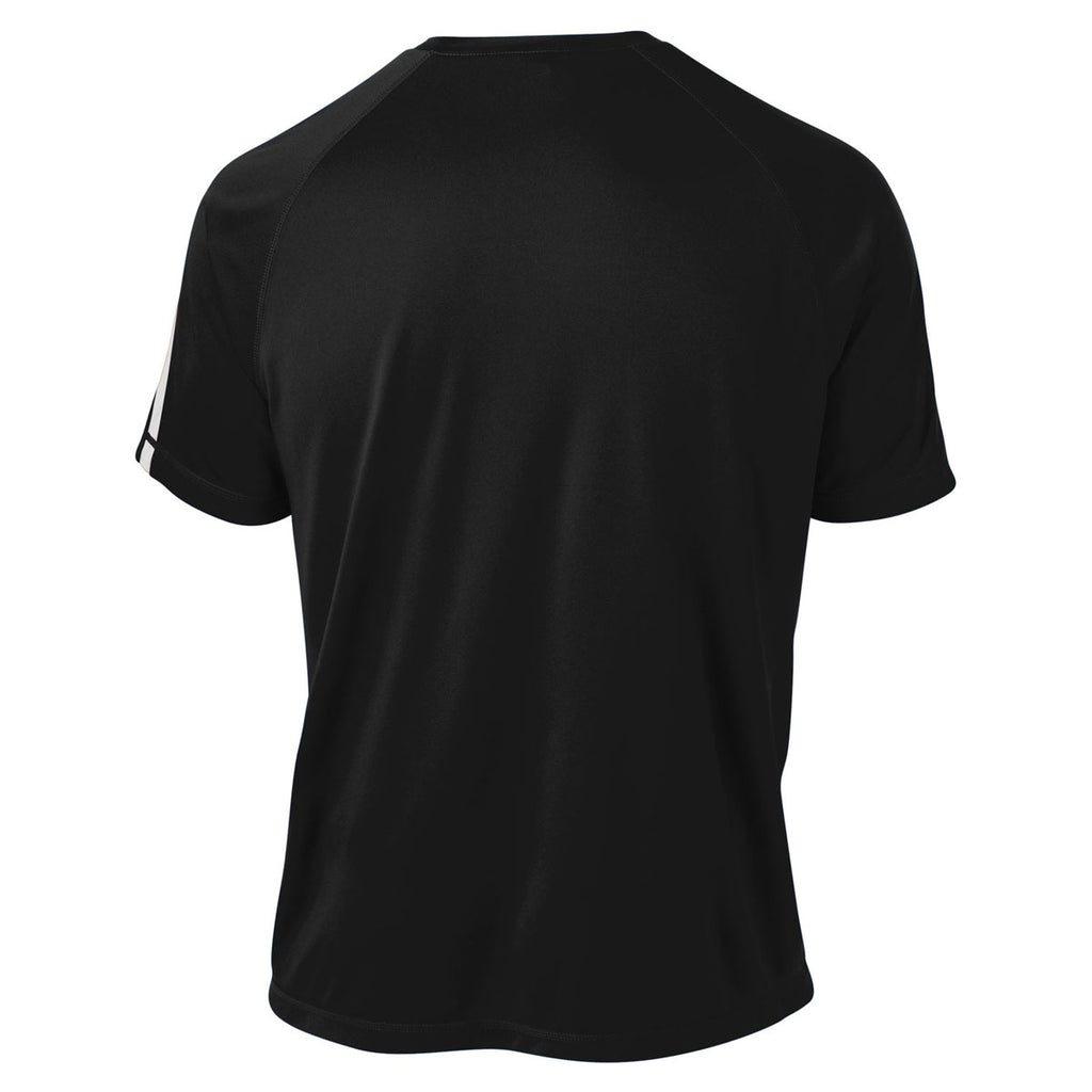 Sport-Tek Men's Black/ White Tall Colorblock PosiCharge Competitor Tee