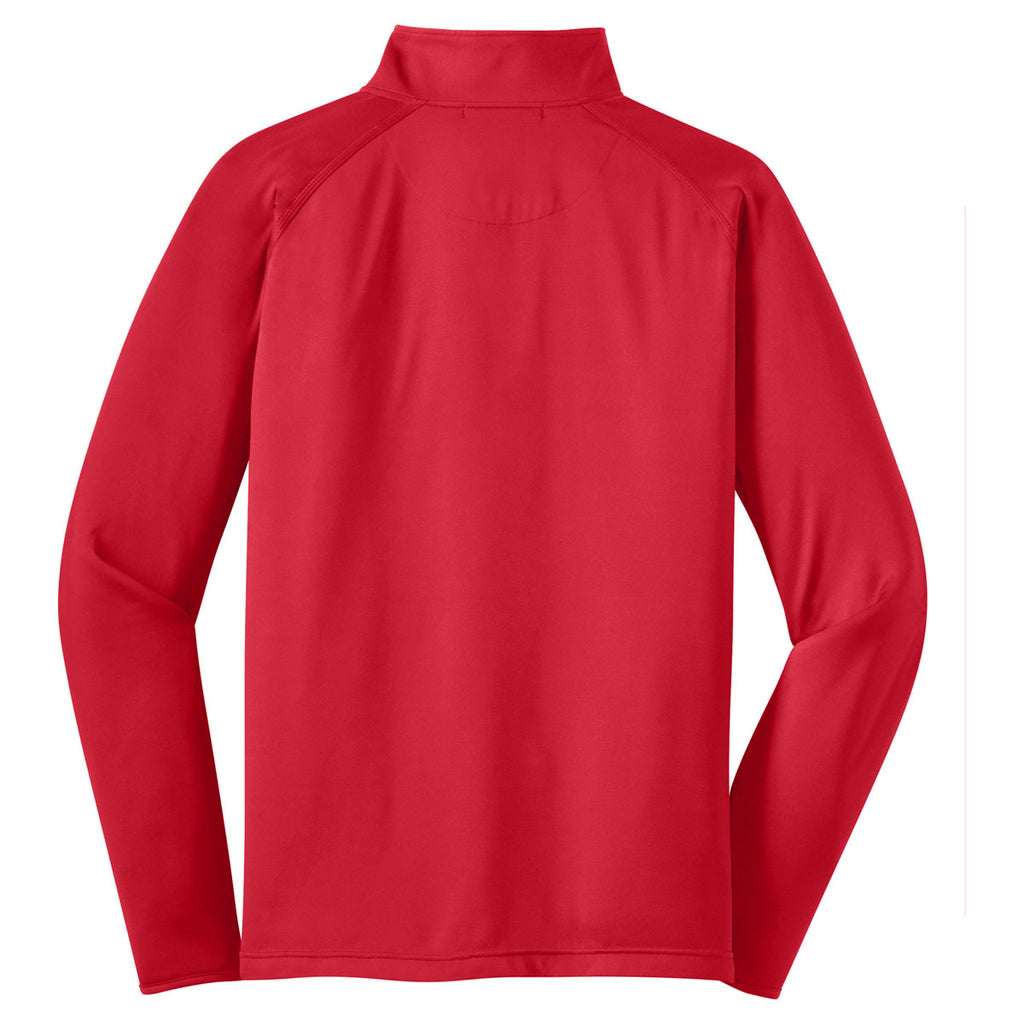 Sport-Tek Men's True Red Tall Sport-Wick Stretch 1/2-Zip Pullover