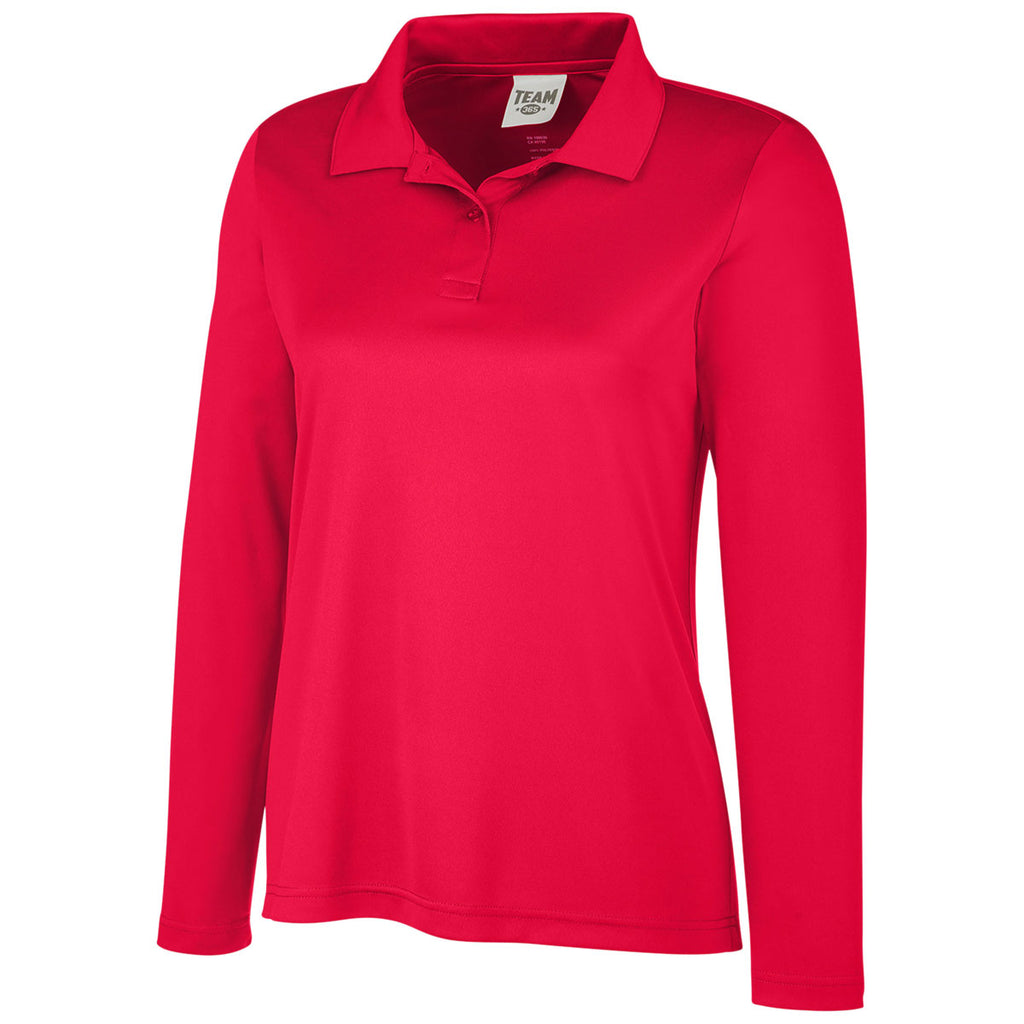 Team 365 Women's Sport Red Zone Performance Long Sleeve Polo