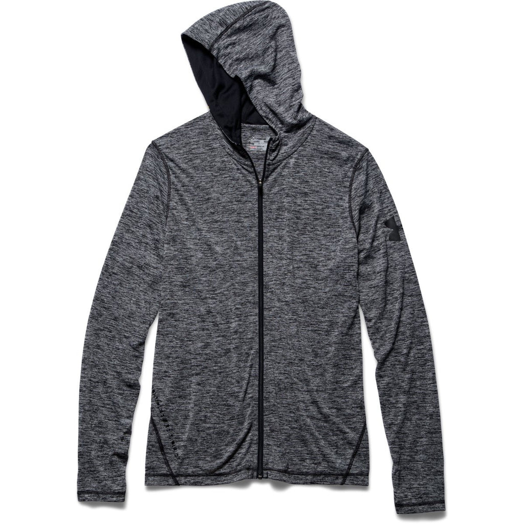 90bb1424aef7 Under Armour Corporate Men s Black Heather Tech Full Zip Hoodie. ADD YOUR  LOGO