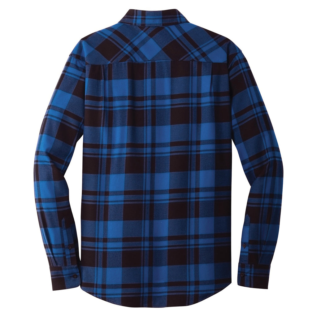 Port Authority Men's Royal/Black Plaid Flannel Shirt