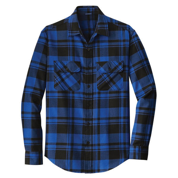 Port Authority Men S Royal Black Plaid Flannel Shirt