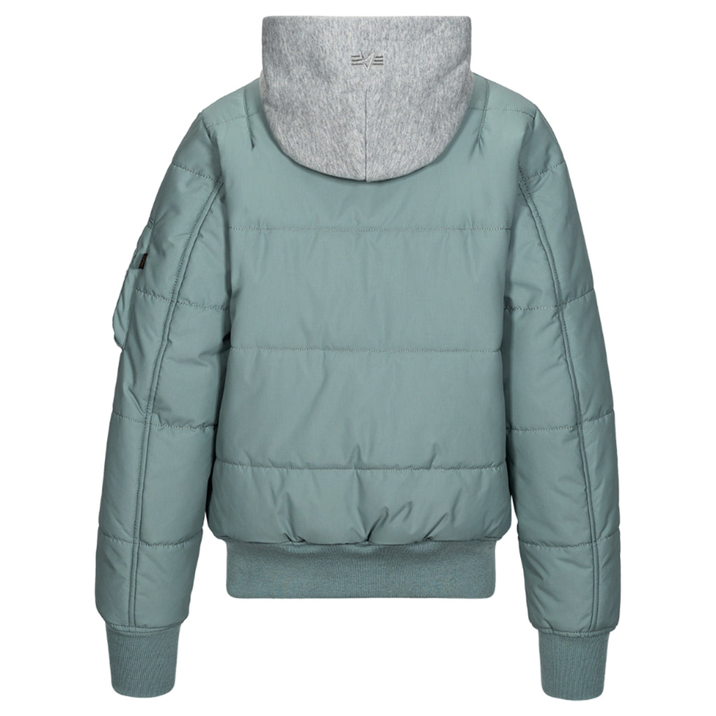 Alpha Industries Women's Silver Blue MA-1 Natus Quilted Flight Jacket