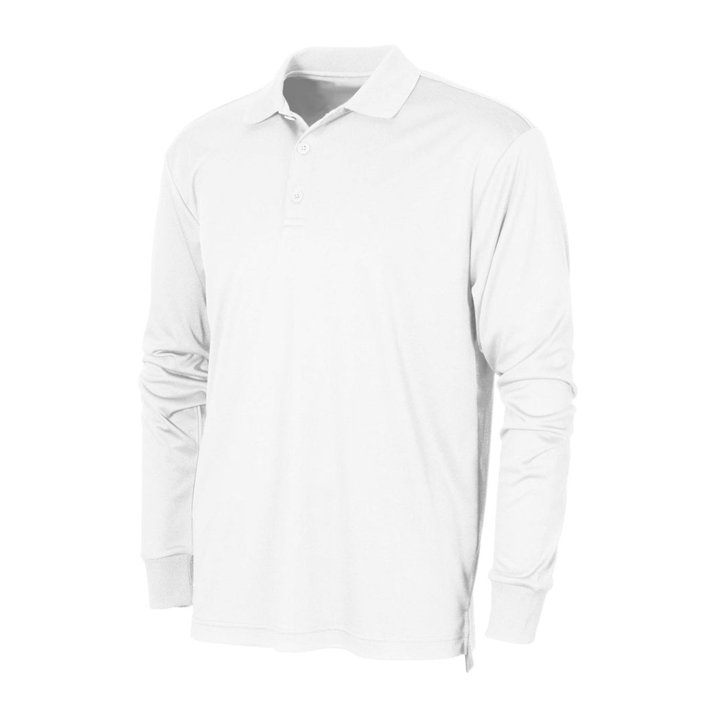 1053ec66a BAW Men's White Xtreme Tek Long Sleeve Polo