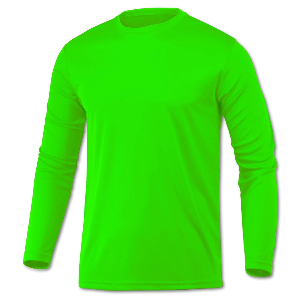 Baw men 39 s neon green xtreme tek long sleeve shirt for Neon green shirts for men