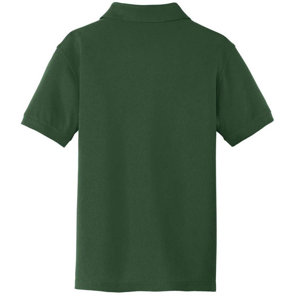 Port Authority Youth Deep Forest Green Core Classic Pique Polo