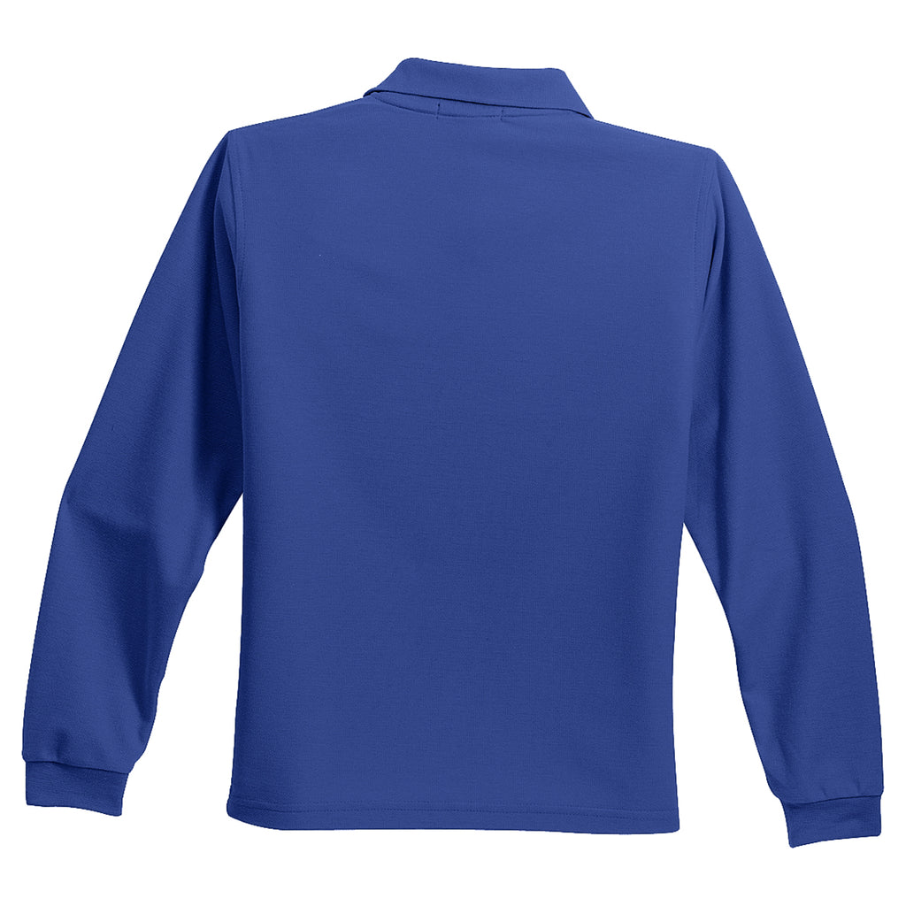Port Authority Youth Royal Long Sleeve Silk Touch Polo