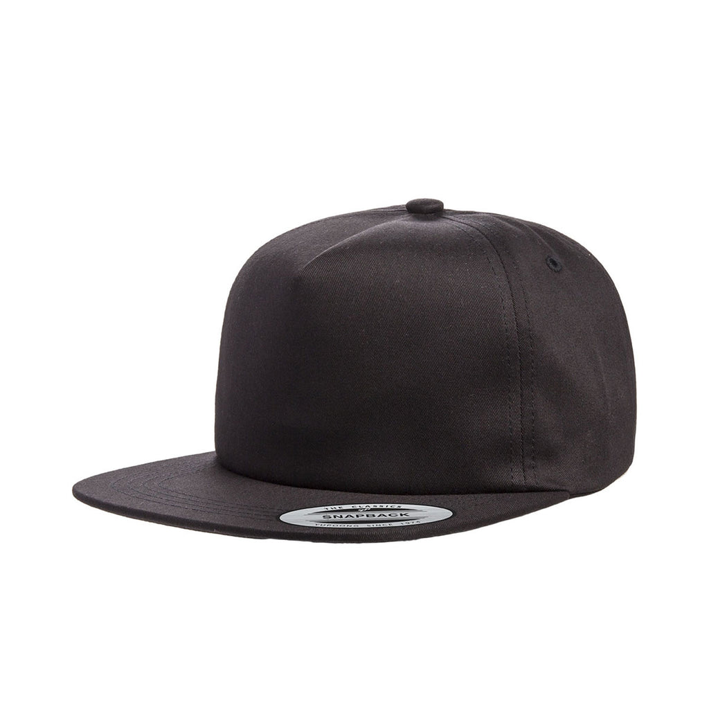d24f61d50e2f1 Yupoong Black Unstructured 5-Panel Snapback Cap. ADD YOUR LOGO