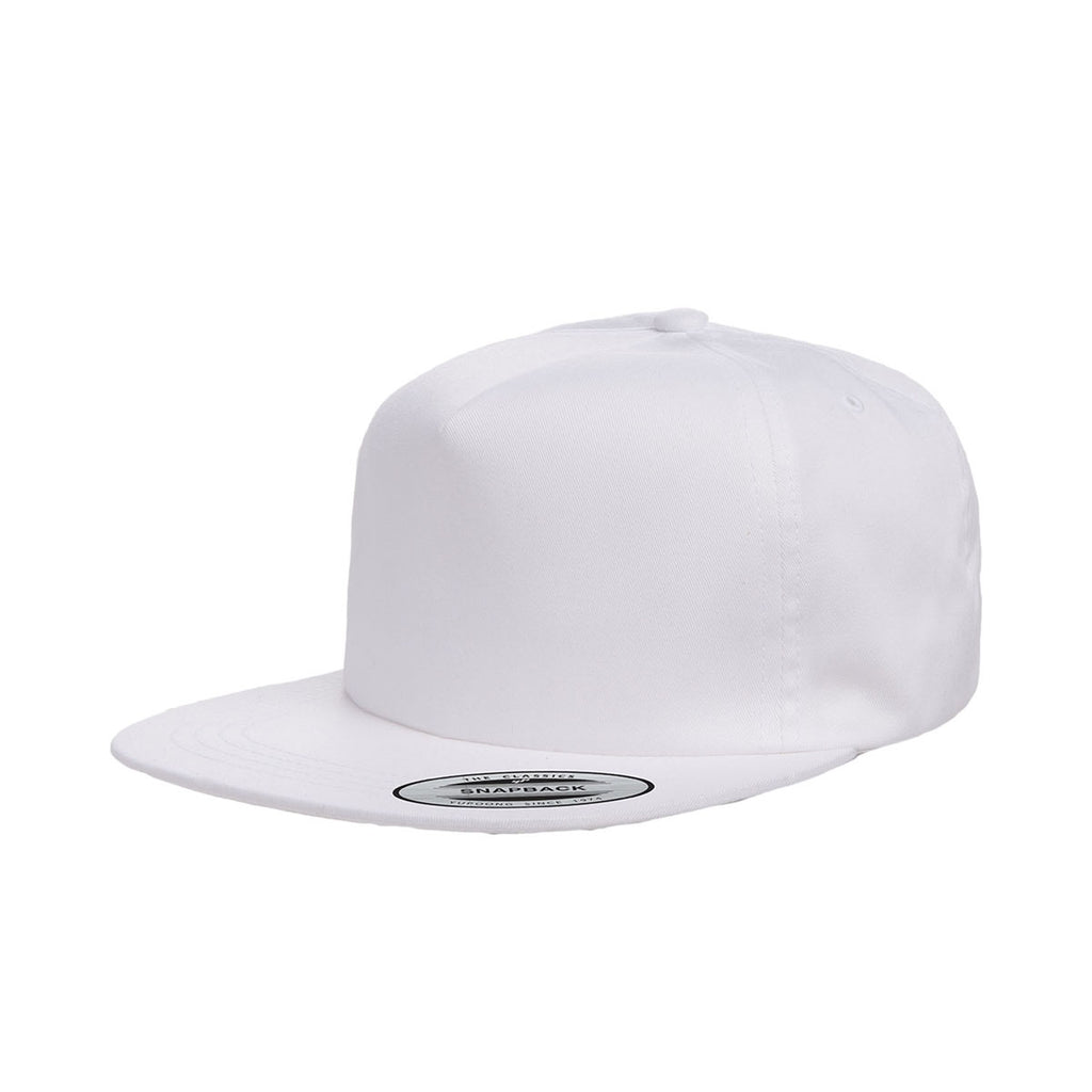 3c4728759fa909 Yupoong White Unstructured 5-Panel Snapback Cap. ADD YOUR LOGO