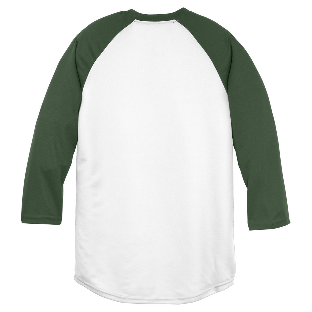 Sport-Tek Youth White/Forest Green PosiCharge Baseball Jersey