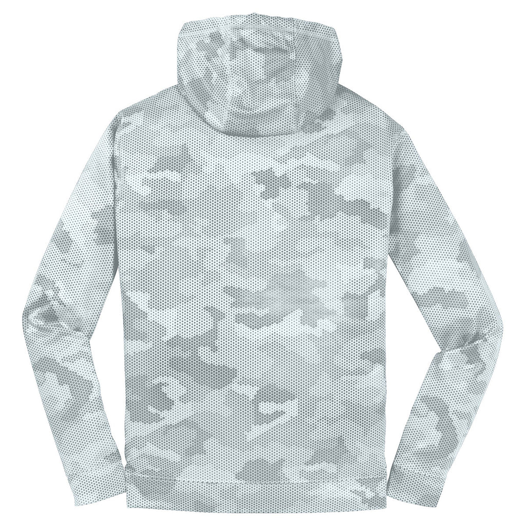 Sport-Tek Youth White Sport-Wick CamoHex Fleece Hooded Pullover