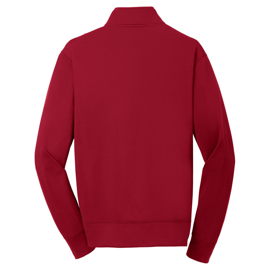 Sport-Tek Youth Deep Red Sport-Wick Fleece Full-Zip Jacket