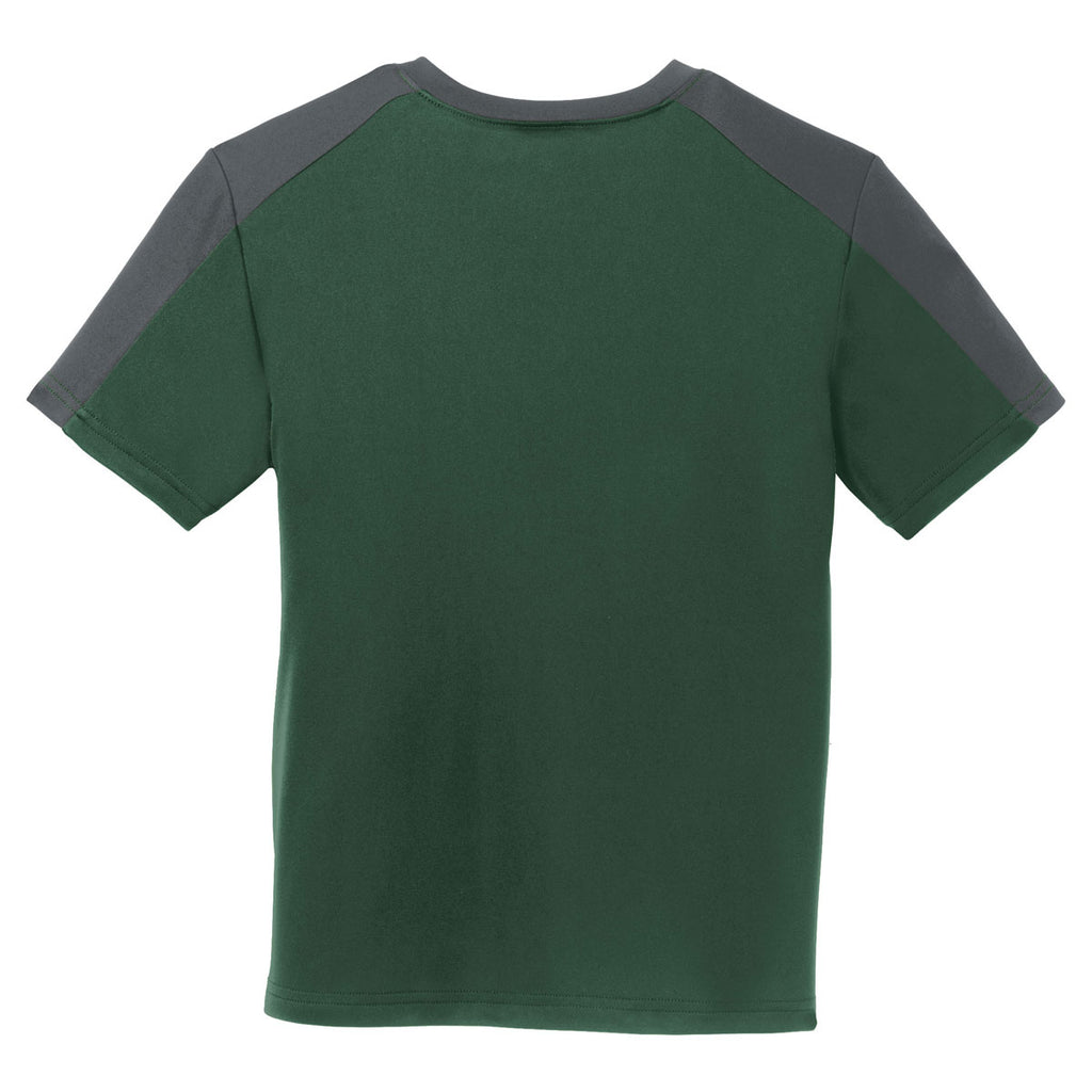 Sport-Tek Youth Forest Green/ Iron Grey PosiCharge Competitor Sleeve-Blocked Tee