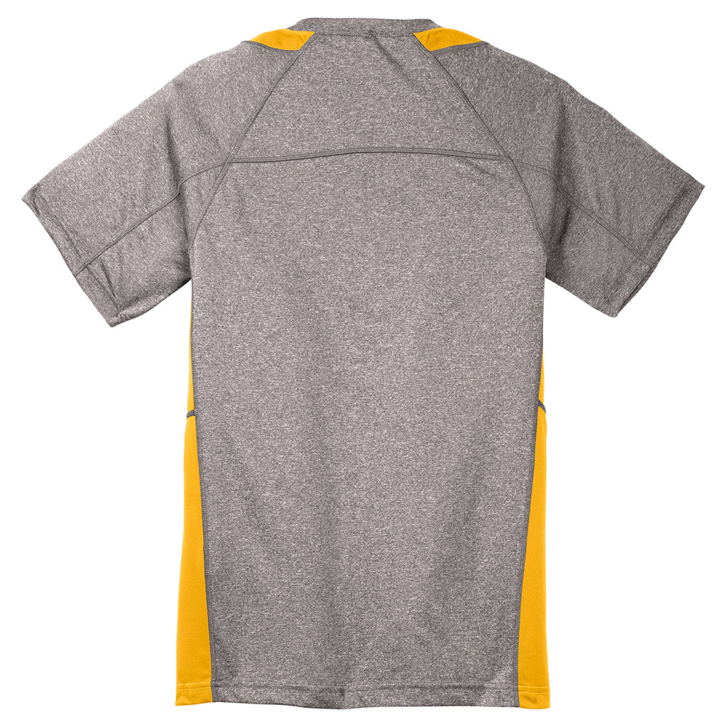 Sport-Tek Youth Vintage Heather/ Gold Heather Colorblock Contender Tee